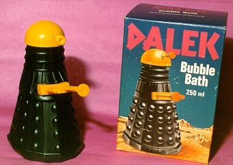 doctorwho:  Dalek Bubble Bath cathycapturestheworld: OMG, this is real. Karen Gillan's mum is one of us. :D For reference: did you watch Karen's interview on Craig Ferguson last week?  New life goal. Seriously.
