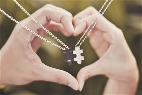 "MY MISSING PUZZLE PIECE: Our ""Puzzle"" necklaces are by Me&U's latest brand from Singapore, M+Y. They're made of surgical stainless steel (as in the stuff used to make surgical tools), which is awesome since silver tends to get scratched, rusty or itchy over time. Photo: Tricia Gosingtian."