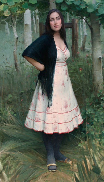 "Jeremy Lipking, ""Spring Figure,"" Oil on Linen, 70"" x 40"""