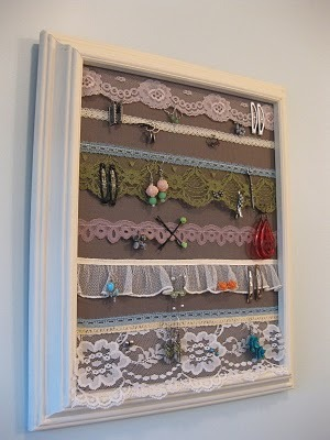 Ok, so as you know,  I make and sell jewelry holders on Etsy, so I can really appreciate this… I stumbled upon this unique jewelry holder today and think it is brilliant!!! I love the lace! It's so beautiful and vintage and eclectic. Anyways, there is a tutorial showing how to make it on H is for Handmade. She's got a lot of other fun DIY's on her blog, too!