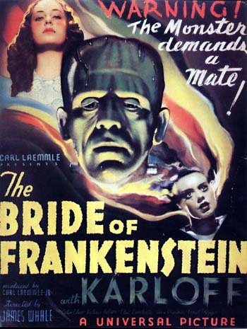 #111 Bride of Frankenstein Starting directly after the events of Frankenstein, the monster (Boris Karloff) survives by falling into a water pit beneath the windmill. Frankenstein (Colin Clive), miraculously surviving his attack by the monster, wants nothing to do with it and decides to flee with his new bride Elizabeth (Valerie Hobson). He is stopped however, by his old teacher Dr Pretorious (Ernest Thesiger) who has also discovered how to grow life (rather than reanimate it) and now wants Frankenstein's help to make a women. Initially against it, but finally forced by his creation, they succeed in creating a bride for the monster (Elsa Lanchester). Apparently more in keeping with the book, this time the monster is shown to be more sympathetic, rather than just a mindless killer. We see his plight and persecution as he befriends an old blind man in the woods and his longs for someone like him to be with. When his bride eventually also rejects him it's all the more saddening. Karloff and Clive both return to their original roles and are both excellent in them once more. Clive's doctor has seen the folly of his action and truly just wants to escape from what he has done. The new character of Dr Pretorious might be one of the greatest mad doctors of all time. Thesiger just owns it and it's a joy to watch. Elements of the film seem rather silly now, like the small people in the glass jars, but you can see why some of the scenes are still talked about even today. 3/5