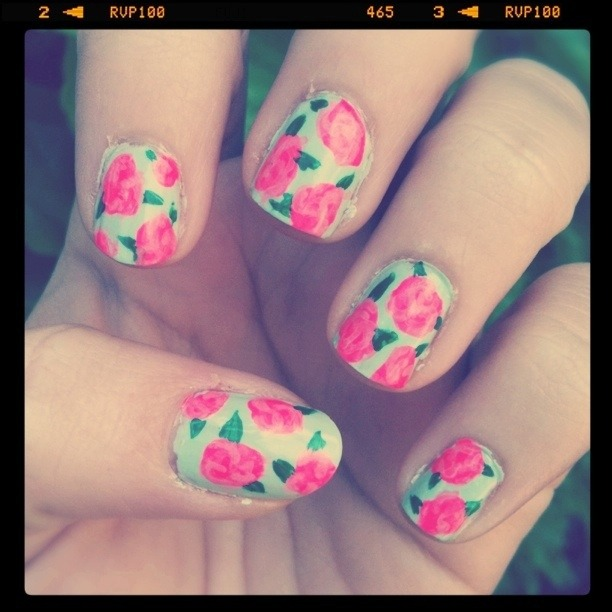 Nails Of The Week! A Victorian inspired floral pattern for Spring and Easter :) PM for colors used/tutorial.