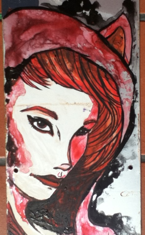 ReBlog ~ eatsleepdraw:Little RedAcrylic on stainless steelIf you like it, follow me on misslenka.tumblr.com more art on there :)