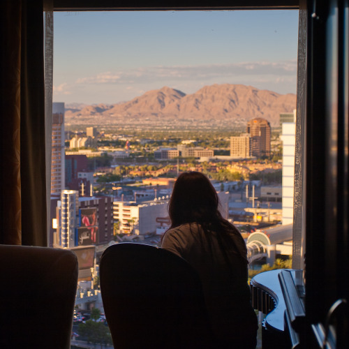 Lindsay looks out onto the strip and beyond. Las Vegas, Nevada.