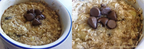 "Boatmeal (Baked oatmeal!) Ingredients: 40g oats (152) 1/4 cup banana, mushed (33) Dash of vanilla (2) 1/4 cup of water (0) Dash of cinnamon (3) 1 tablespoon of dark chocolate chips (35) Optional: 1 1/2 tsp of maple syrup if you like it sweeter (not counted) Directions:  Mix everything together, then place in a sprayed ramekin dish, or small baking pan, bake in the oven at 380F, for 15-20 minutes. Set your oven to""high broil"" and bake for a further 3-4 minutes to give a crispy topping (If you're British: grill it 3-4 minutes) Voila! Makes one serving with 224 calories (43 from fat), 4.7g total fat (1.7g sat, 0.0g trans), 5.6g dietary fiber, 6.2g of protein; (via foodandfitfreya)"