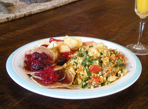 Dish:  Tofu Scramble, Pancakes with Berry Sauce, and Fruit Salad By:  Jill and Washilu