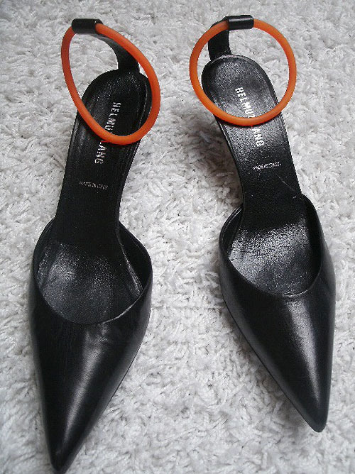lacollectionneuse:  kitten heels with rubber ankle strap (eu sz 39) • helmut lang€6,50