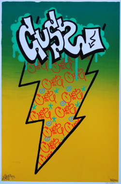 Limited edition of 100 hand screen printed prints by graffiti artist CUSS of STM Crew. 12 by 18 inches. Available at Endless Canvas.