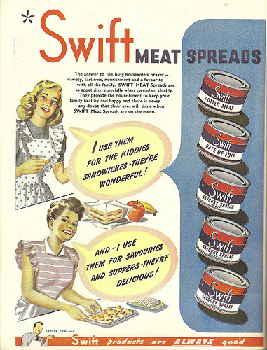 'SWIFT MEAT Spreads are so appetising, especially when spread on thickly.' [via]