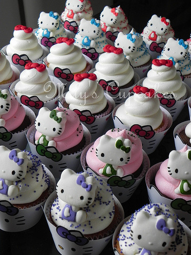 Kitty Cupcakes with wrappers (by Mily'sCupcakes)