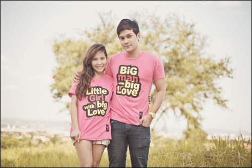 "BIG LOVE, TOGETHER: ""Little girl with big love"" and ""big man with big love"" shirts by 13PRD, and ""Together"" necklaces by M+Y, both from Me&U.  One necklace has a black nut pendant, while the other has two silver bolts with cute rhinestones on it. We threaded the nut into one of the bolts—perfect fit. :) Photos: Tricia Gosingtian."