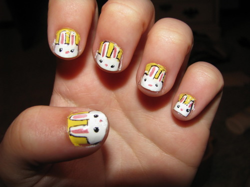naildiary:  Here comes Peter Cottontail…. Its a little late for easter nails, but better late then never right?