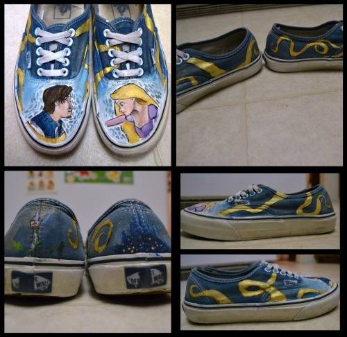 Tangled Vans Approx. Price: $45 Acrylic paint/Textile Medium, also bleach to prepare the toes.