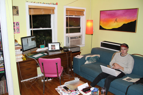 Joe working hard on the Tumblr in the MASC headquarters/ dungeon/ playhouse