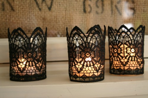 mildlyinterestingadventures:  Black Lace Candles | Family Chic I could stand for hours in the trim aisle of Spotlight, just looking at all the pretty lace, ribbons, pom poms… Sigh. I just wish I could have that in my house! Haha! I can never think of anything to do with it though. But this is so easy and effective, don't you think? I don't know if I would do it with black lace, but any kind of lace would be beautiful. Right, a trip back to the trim aisle is needed, this time with a purpose!  Black lace is fantastic.