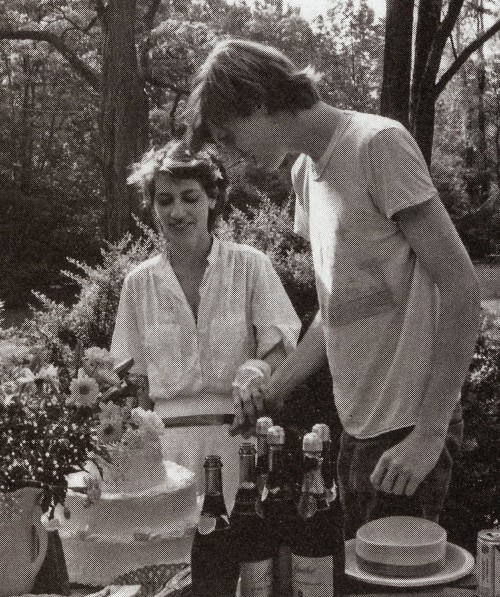 subterraneanhomesickblog:  Kim Gordon & Thurston Moore at their Wedding Reception ,1984.