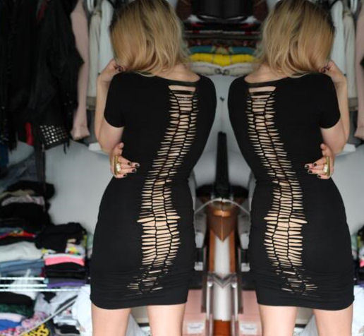 Spine Dress | Love Aesthetics OK, so this DIY does require you have a dress similar to the one pictured, but the end result is worth it. But please ladies, wear something underneath. No matter how gorge your body is, no one needs to see you underbits. That just ain't classy. You could also do this with a tight tshirt if you don't have a tshirt dress. I'm not 100% cluey on how you do the 'knitting' on the back of the dress, but I'm sure there is a smart gal out there who could show us!