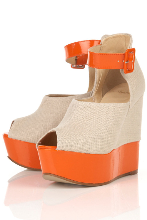 SCRIPT Natural Linen High Vamp Peep Toe Platform Wedges = $115