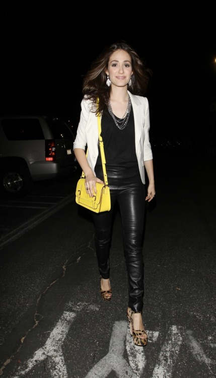Emmy Rossum wore her kate spade new york Essex Scout bag in Citronella to the Prince concert in Los Angeles on Saturday.
