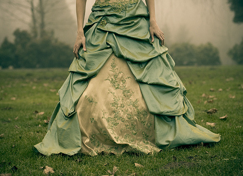 Fairytale Zombies This is a beautiful dress, but why do I think Fairytale Zombie when I look at this Photo.  That could be cool.  Cinderella Zombie.  Sleeping Beauty of the Undead.