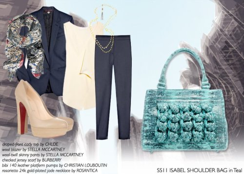 How to Wear: The SS11 Isabel Shoulder Bag in Teal A working city girl always needs a refined, yet stylish accessory that goes with everything essential. So why not carry our SS11 Isabel Shoulder Bag in teal this season for a structured ladylike ensemble and a pop of color?  Draped Front Cady top by ChloeWool Blazer by Stella McCartneyWool-twill Skinny Pants by Stella McCartneyChecked Jersey Scarf by BurberryBibi 140 Leather Platform Pumps by Christian LouboutinRosarietto Jade Necklace by Rosantica