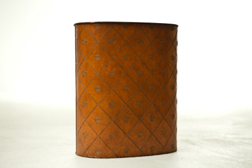 "SOLD vintage trash can - weibro 1960ssolid, masculine, classy.perfect for: your husband's office.dimensions: 11"" x 7"" x 13"""