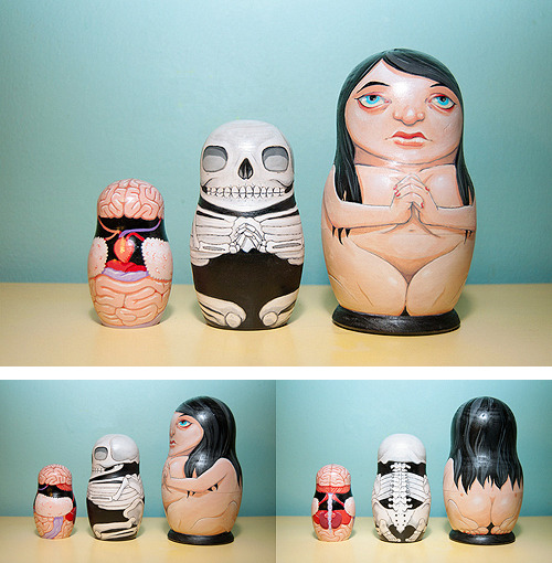 bauldoff:  I just love these brilliant Anatomical Nesting Dolls by Stuntkid, illustrator Jason Levesque. via Urban Taster, Designspiration  These are kyoot.