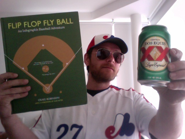 2.25pm. Time for a celebratory cerveza whilst wearing Expos gear.