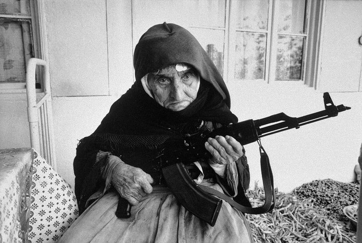 106 year old Armenian woman guarding her house with an Ak-47.  In the village of Degh, near the border of Azerbaijan.
