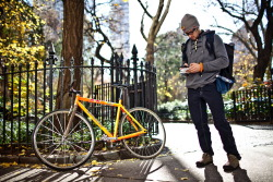 infoneer-pulse:  Bike Messengers Pedal Past Bandwidth in Data Race  Digital files, cloud computing and accelerating broadband have long put bike messengers on the endangered species list. No matter how fast a messenger is, even a triple rush can't compete with instantaneous. For messengers, technology is more of a threat than wily cab drivers and potholes. But, oddly, technology is also what keeps them around. The evolution of software and mobile phones has allowed some messenger companies to work in autonomous cells, rather than as an overhead-heavy hierarchy. A central headquarters is now obsolete, and profit-sharing employees take turns dispatching and making runs.  » via Wired  Always thought being a bike messenger would be the coolest, nice to see that they are still lean and mean.
