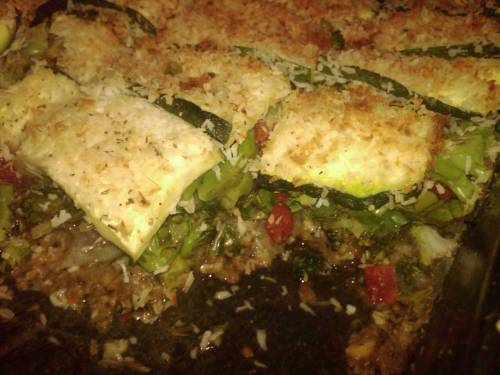 Broccoli- Zucchini Pie In a baking pan compress a thin layer of veggie burger on the bottom of the pan, layer diced onion, broccoli, spinach and tomato until the top - seasoning with salt, pepper, granulated garlic, & oregano. In a large bowl mix 2 cups soy milk, 1 tbsp vinegar, blackening seasoning Slice zucchini long ways and thin, dip in soy milk mixture and then coat w/ shredded coconut and make a layer on the top of your baking dish.  Bake at 275F for 30 minutes. ilovenewinventions - cristi