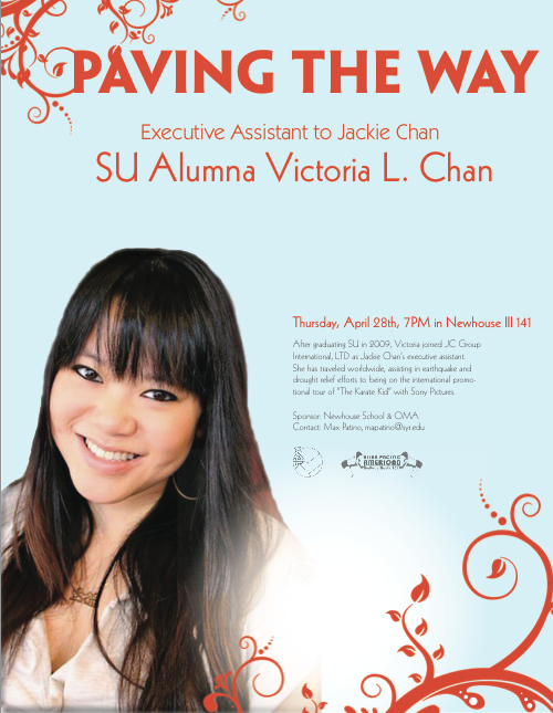 "Paving The WaySyracuse University & Kappa Phi Lambda Alumna Victoria 'Elicit' Chan will be speaking Thursday, April 28th at 7pm in Newhouse III 141 as part of Syracuse University's Asian Pacific American month.  Victoria was there every step of the way while Jackie was making ""The Karate Kid"". Come hear her speak about her adventures as the executive assistant for the famous Jackie Chan!  Saving the best event for last. You wouldn't want to miss out on this event!"