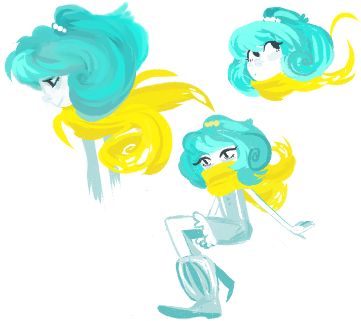 i was playing with marcia's brush that left posted earlier today and then i just made a swirl to learn how to use it and then oops i made it hair and then oops it was a girl