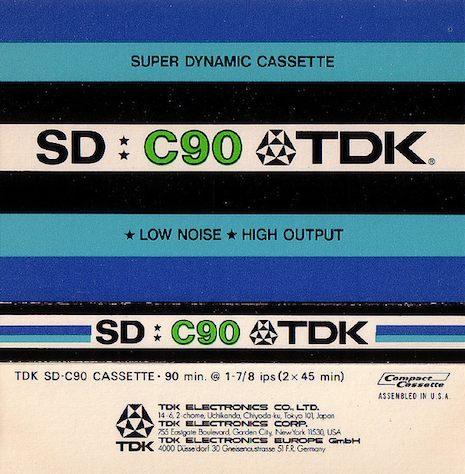 (via Dangerous Minds | The mundane beauty of blank cassette tape insert cards) TDK SD-C90