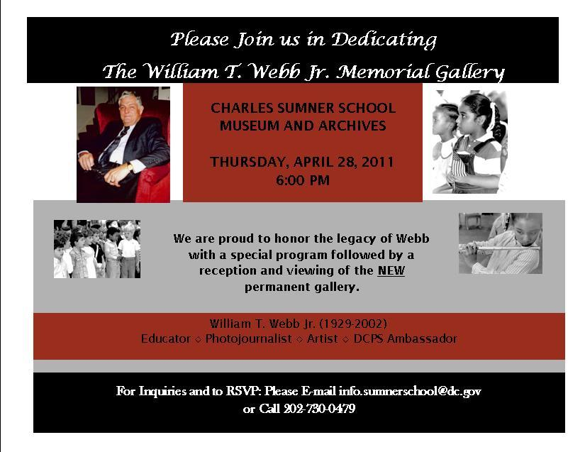 William T. Webb Memorial Gallery Dedication, this Thursday!
