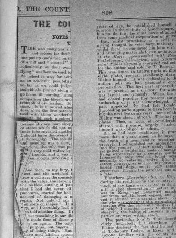 Newspaper or journal clippings (with underlining re. author? owner?) digitized From back matter of Canine Pathology by D. P. Blaine (1817). [Here]