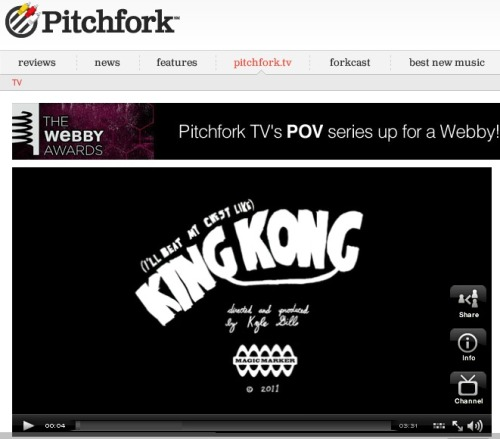 "BOAT's ""King Kong"" debuts on Pitchfork TV today! Rad stop-motion by Mr. Kyle Gill."