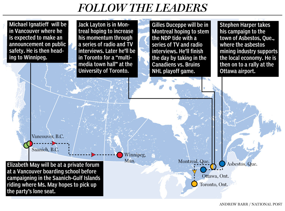 Follow the leaders: Day 32 How do you stem a surging NDP with less than a week before Canadians head to the polls? If you're Conservative Stephen Harper, you take on Jack Layton head-on. Both party leaders are travelling to Quebec today to shore up support in a province that is shaping up to be this election's kingmaker.