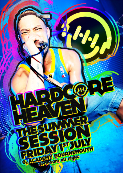 Hardcore Heaven do a gig called the Summer Session, every, uh… summer. It's at the O2 Academy Bournemouth, and this year falls on Friday 1st July. So if you want to come to a party this summer and you like listening to music from Sy & Unknown, Darren Styles, Angerfist (grrr), Gammer, Hixxy, Re-Con, Marc Smith, Klubfiller, Mark EG & DJ MOB, whilst MC Storm, Whizzkid, Enemy, Static, Keyes and Skatty shout at you on the microphone then we have something for you. You might be able to turn up on the door, grab a ticket and go in. But then again, if spontaneity isn't your thing, you can always get a ticket in advance from http://shop.slamminvinyl.com