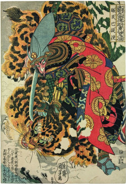 oldthunder:  Utagawa Kuniyoshi, Japanese Warrior Kashiwade no Hanoshi Kills a Tiger in Korea, 1830-32