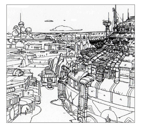 fuckyeahjeangiraud:  In 1986, Starwatcher Graphics was approached by Disney's park division via Tim Delaney. Disney had made a deal with George Lucas to give a complete makeover to Tomorrowland in Disneyland. Lucas thought about Moebius for conceptual work. The project won't happen, still two attractions came out of it, Star Tours and Captain EO. Source: Le Blog de Jean-Hughes Jacquin.