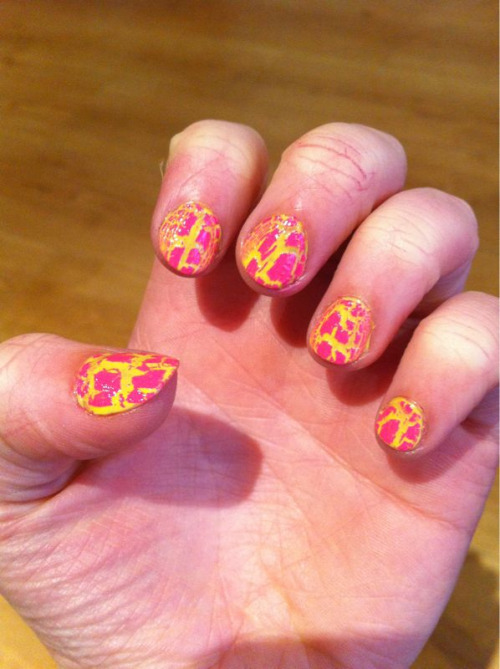 Barry M lemon yellow with light pink Barry M nail effects on top