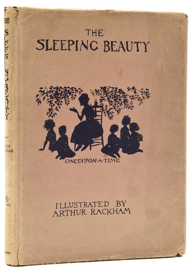The Sleeping Beauty Charles Seddon Evans. Illustrations by Arthur Rackham. 1920.  First edition, tipped-in colour plate and silhouette illustrations by Rackham, original cloth-backed pictorial boards