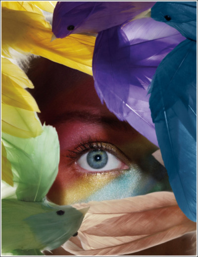happyhues:  Colorful feathers and face makeup! (via MAC Flighty Collection)