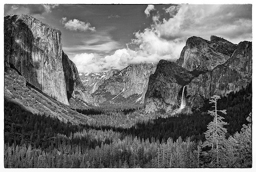 black-and-white:  Yosemite Valley from Tunnel View (by allamande)