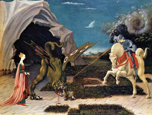 Saint George and the Dragon by Paolo Uccello, ca 1470, oil on canvas, 55.6 x 74.2 cm, National Gallery, London (painting of the month in the National Gallery, April 2011)