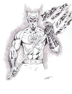 "Hellstorm by Alex Lugo Some of Daimon's gear is weirdly Roman. He's got the horse-drawn chariot, and tridents were used by ""net-fighting"" Gladiators as a weapon way back when. Maybe it was supposed to give him a ""god-like"" aspect? But he's American, so I don't even know."