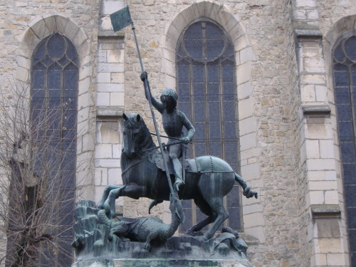 Saint George killing the dragon by Kolozsvári Márton and György, 1373, bronze, Cluj Napoca (Kolozsvár), Romania (the original is in the Hradcány, the Castle of Prague)
