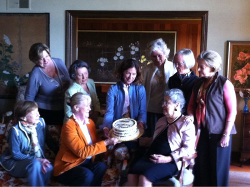 Historic event 9 Napa Valley Women Vintners at Flora's house for her 100th!