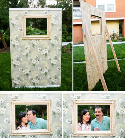 lovewithinlife:  DIY Photo-wall What a funny idea :) Love it  Cute idea! This with a digital camera is a great alternative to a photobooth at a wedding, which has become a popular but expensive trend lately!